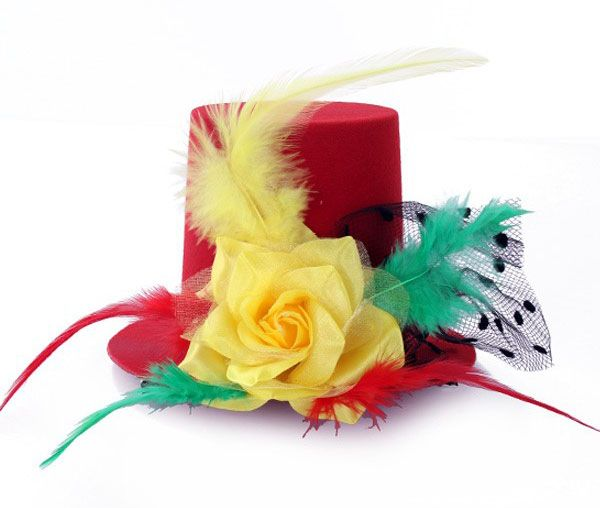 Mini hat red yellow green with rose feathers