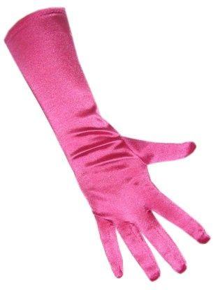 Gloves satin stretch luxury 40 cm pink