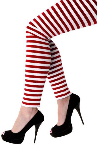 Legging red white striped