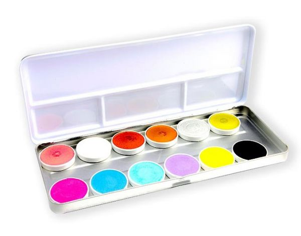 Superstar facepaint palet Shimmer Pastel 12 coulers
