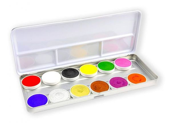 Superstar Aqua Face Paint palette with 12 colors