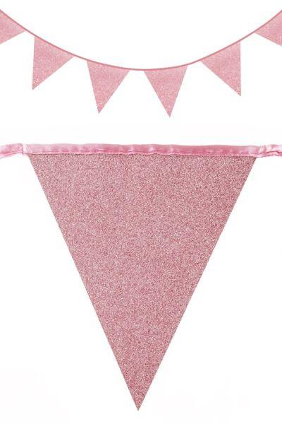 Flag line glitter Rose Gold 30m