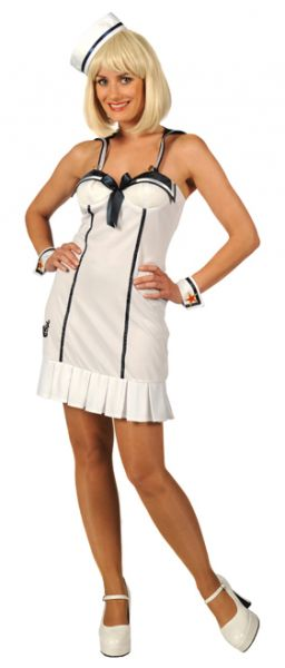Party dress naughty sailor navy lady white