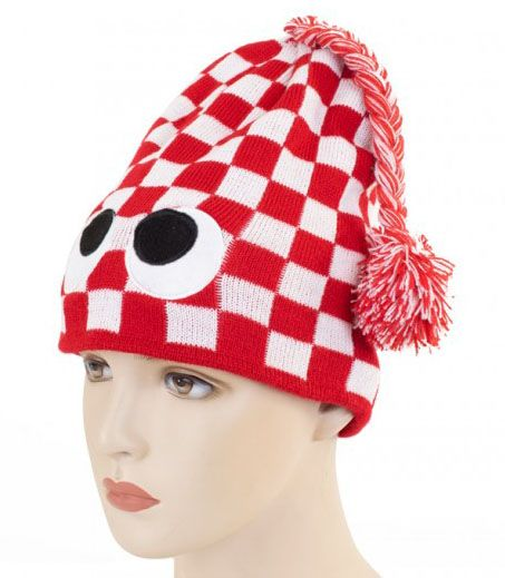 Knitted hat red white checkered with eyes