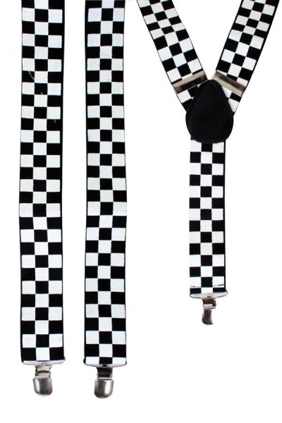Suspenders black and white checkered