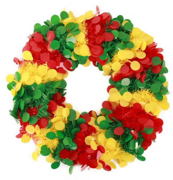 Door wreath confetti shreds red yellow green Fireproof
