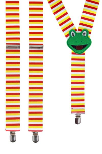 Suspenders red white yellow with frog