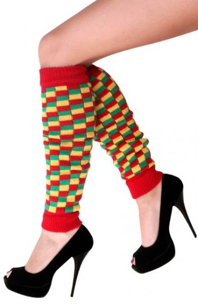 Leg warmers red yellow green checkered