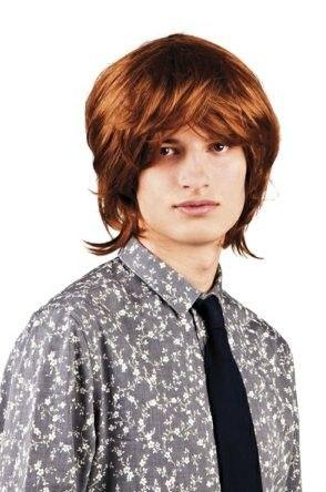Men wig 70s 80s brown