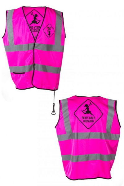 Neon pink warning vest
