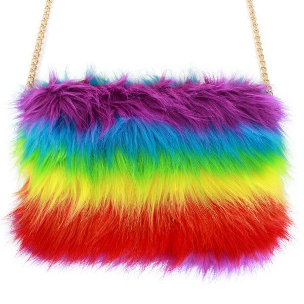 Fur bag rainbow colors
