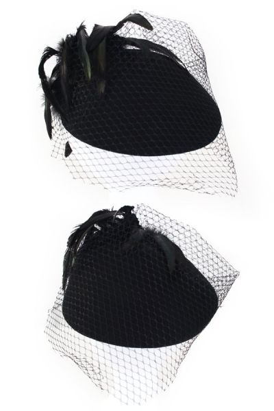 Ladies hat black with mesh green black feathers