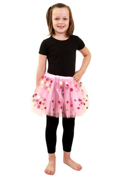 Tulle skirt pink with dots girls