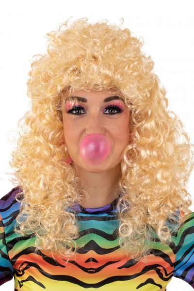 Long curly blond wig