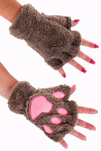 Fingerless gloves plush brown bear paw