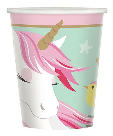 48 Unicorn cups 266 ml paper