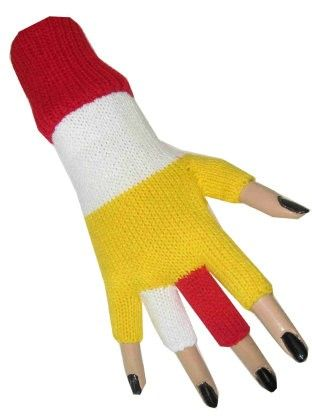 Fingerless glove red white yellow
