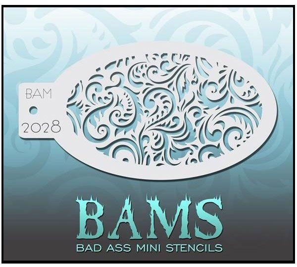 Bad Ass BAM face paint stencil 2028