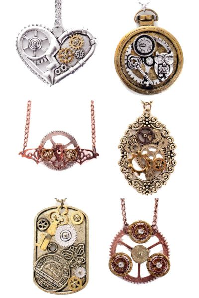 6 Steampunk necklaces