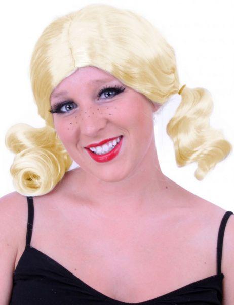 Blonde ladies wig with pigtails
