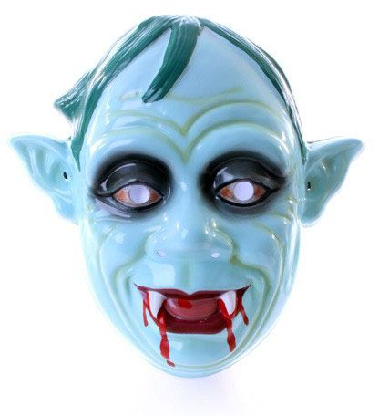 Zombie mask with bloody teeth pointed ears