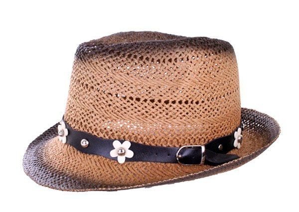 Beach hat Ibiza straw color with flower band