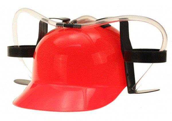 Red helmet with 2 beer bottle holders