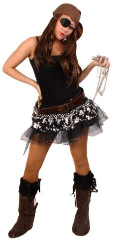 Tulle skirt pirate black silver