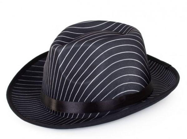 Al capone hat black with pinstripe
