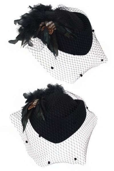 Ladies hat black with mesh and green black feathers