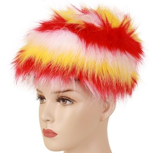 Fur hat red yellow white