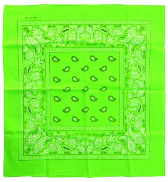 Handkerchief fluorine green bandana with pattern