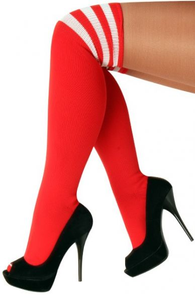 Long knee socks red with 3 white stripes