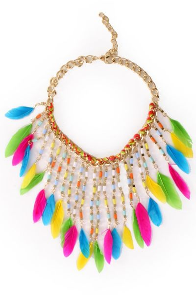 Necklace with colorful feathers Ibiza Indian