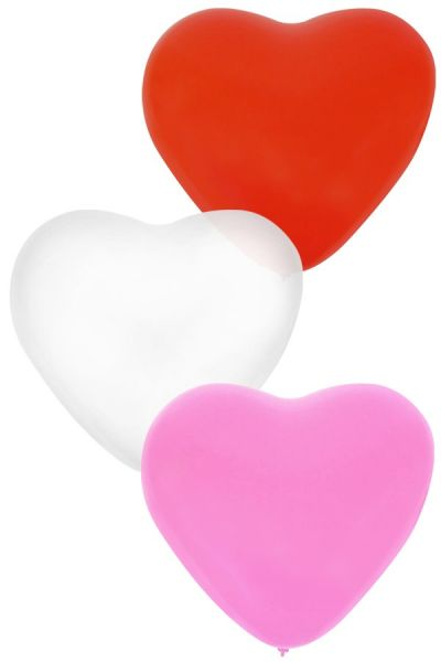 Balloon Heart x 36 Red White Pink 32 cm