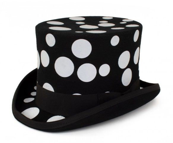 Black top hat with white spheres