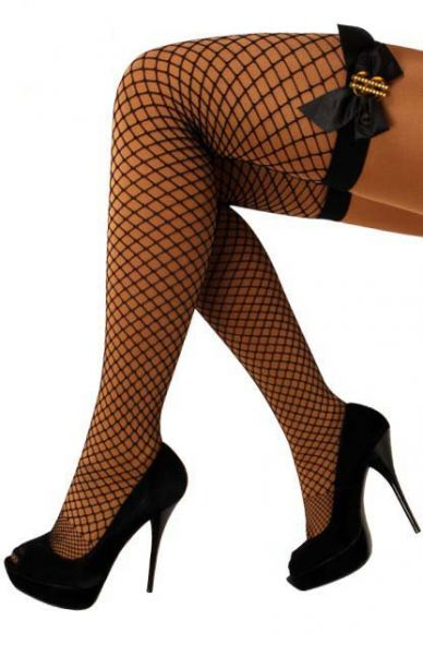 Stay Up fishnet stockings black bow with $ sign