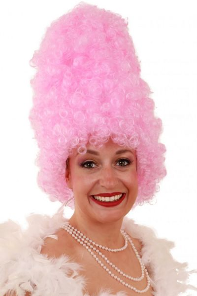 Funny wig Curly high pink
