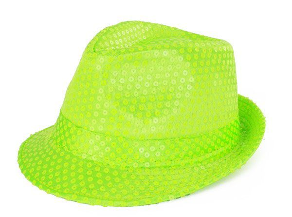 Dent hat fluor green with sequins
