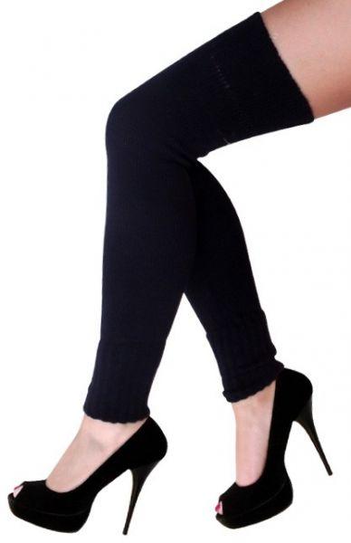 Ladies knee over leg warmers black