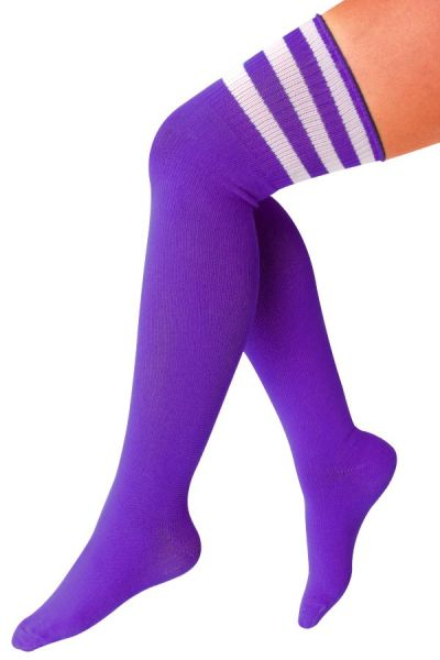 Long knee socks purple with 3 white stripes