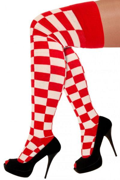 Long socks red white checkered