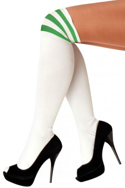 Long knee socks white with 3 green stripes