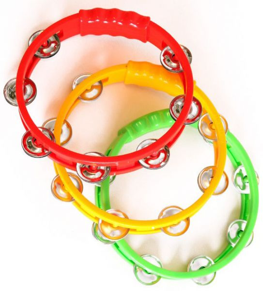 6 Tambourines in the colors red yellow green