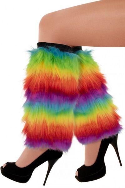 Legwarmers rainbow colors plush
