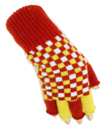 Fingerless gloves red white yellow checkered