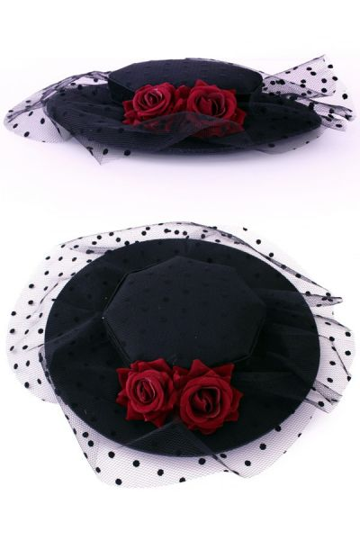 Hat on pins with roses and balls of gauze
