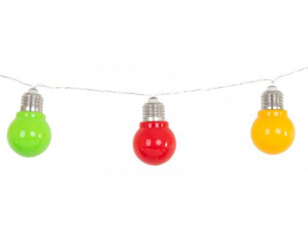 Light cord E27 10 lamps red yellow green