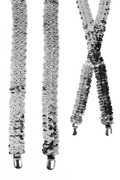 Suspenders sequins silver