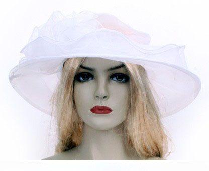 Ladies hat with decoration white